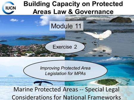 Building Capacity on Protected Areas Law & Governance Module 11 Marine Protected Areas -- Special Legal Considerations for National Frameworks Exercise.