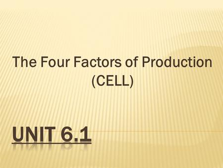 The Four Factors of Production (CELL)