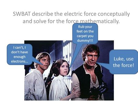 Electric Force SWBAT describe the electric force conceptually and solve for the force mathematically. Luke, use the force! I can't, I don't have enough.