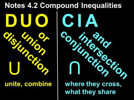 C I AC I AD U OD U O disjunction conjunction union intersection orand U U Notes 4.2 Compound Inequalities unite, combinewhere they cross, what they share.