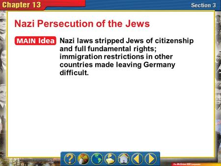 Section 3 Nazi Persecution of the Jews Nazi laws stripped Jews of citizenship and full fundamental rights; immigration restrictions in other countries.