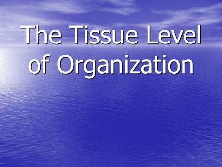 The Tissue Level of Organization. Tissue –Definition – an aggregation of cells in which each cooperates with all others in the performance of a given.
