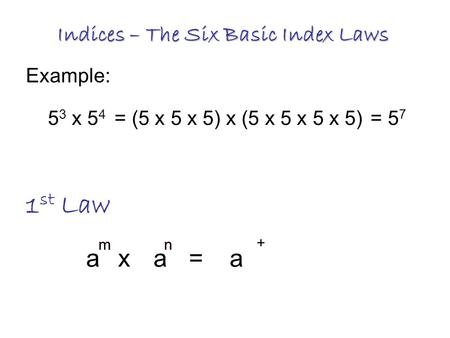 Indices – The Six Basic Index Laws 1 st Law 5 3 x 5 4 = (5 x 5 x 5) x (5 x 5 x 5 x 5)= 5 7 Example: aax=a + mnmn.