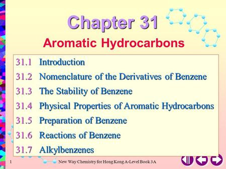 New Way Chemistry for Hong Kong A-Level Book 3A1 Aromatic Hydrocarbons 31.1Introduction 31.2Nomenclature of the Derivatives of Benzene 31.3The Stability.