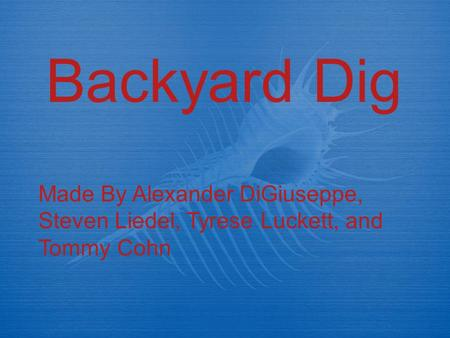 Backyard Dig Made By Alexander DiGiuseppe, Steven Liedel, Tyrese Luckett, and Tommy Cohn.