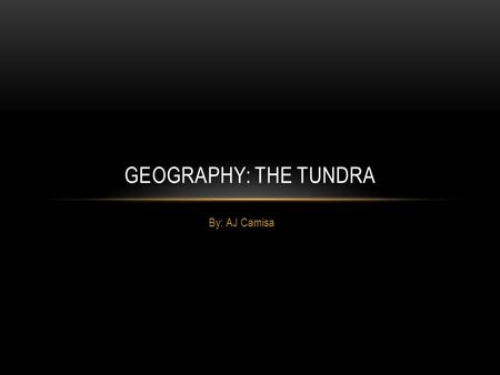 By: AJ Camisa GEOGRAPHY: THE TUNDRA. THE TUNDRA'S LOCATION The Tundra is located in Alaska and Antarctica. The Tundra is also located on the edges of.