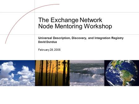 The Exchange Network Node Mentoring Workshop Universal Description, Discovery, and Integration Registry David Dundua February 28, 2005.