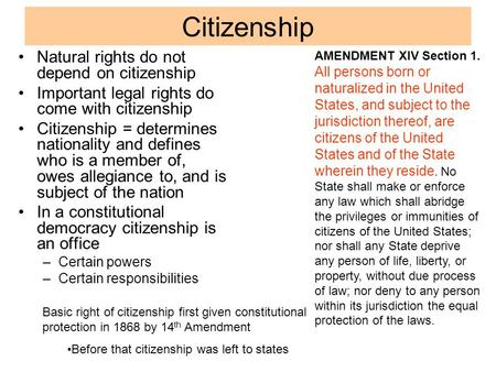Citizenship Natural rights do not depend on citizenship Important legal rights do come with citizenship Citizenship = determines nationality and defines.