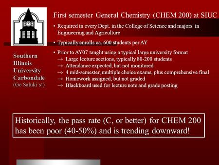 Southern Illinois University Carbondale (Go Saluki's!) First semester General Chemistry (CHEM 200) at SIUC Required in every Dept. in the College of Science.