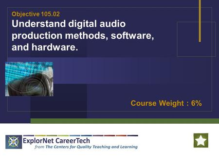 Objective 105.02 Understand digital audio production methods, software, and hardware. Course Weight : 6%