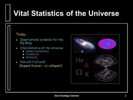 Our Evolving Universe1 Vital Statistics of the Universe Today… l l Observational evidence for the Big Bang l l Vital statistics of the Universe   Hubble's.