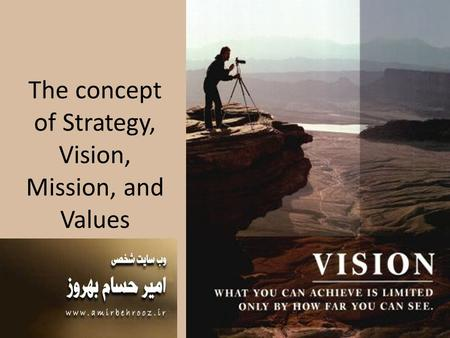 The concept of Strategy, Vision, Mission, and Values.