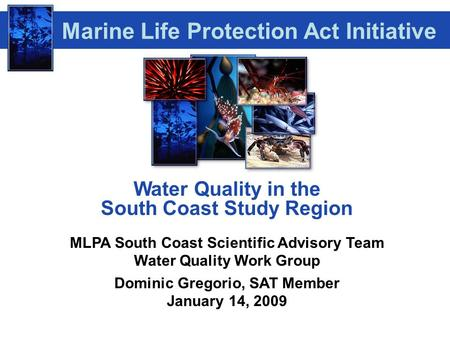 Water Quality in the South Coast Study Region MLPA South Coast Scientific Advisory Team Water Quality Work Group Dominic Gregorio, SAT Member January 14,