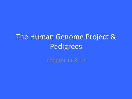 The Human Genome Project & Pedigrees Chapter 11 & 12.
