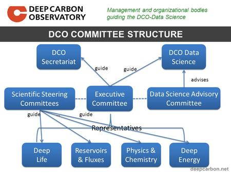 Management and organizational bodies guiding the DCO-Data Science DCO COMMITTEE STRUCTURE Deep Life Deep Life Reservoirs & Fluxes Deep Energy Physics &