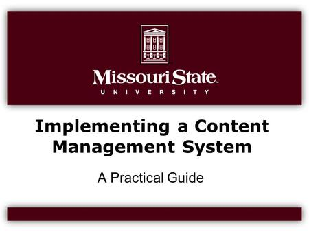 Implementing a Content Management System A Practical Guide.