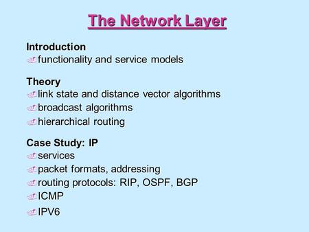 The Network Layer Introduction  functionality and service models Theory  link state and distance vector algorithms  broadcast algorithms  hierarchical.