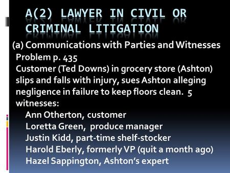 (a) Communications with Parties and Witnesses Problem p. 435 Customer (Ted Downs) in grocery store (Ashton) slips and falls with injury, sues Ashton alleging.