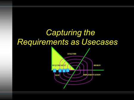 Requirements as Usecases Capturing the REQUIREMENT ANALYSIS DESIGN IMPLEMENTATION TEST.