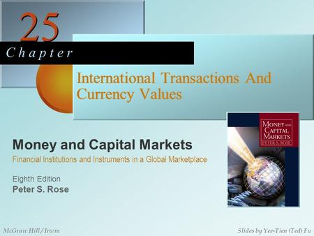 Money and Capital Markets 25 C h a p t e r Eighth Edition Financial Institutions and Instruments in a Global Marketplace Peter S. Rose McGraw Hill / IrwinSlides.