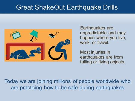Earthquakes are unpredictable and may happen where you live, work, or travel. Most injuries in earthquakes are from falling or flying objects. Today we.