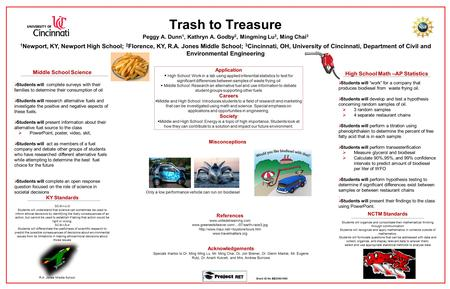 Trash to Treasure Middle School Science  Students will complete surveys with their families to determine their consumption of oil  Students will research.