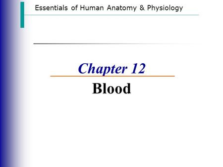 Essentials of Human Anatomy & Physiology Chapter 12 Blood.