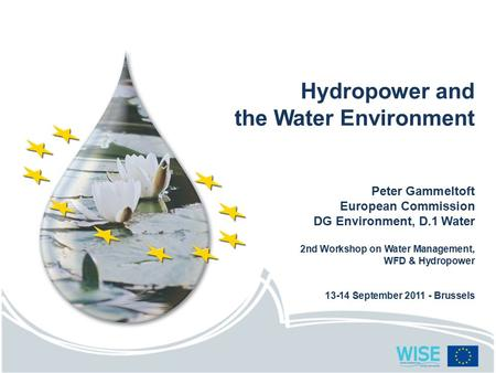 Hydropower and the Water Environment Peter Gammeltoft European Commission DG Environment, D.1 Water 2nd Workshop on Water Management, WFD & Hydropower.