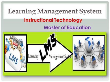 Instructional Technology Master of Education 1. LEARNING OBJECTIVES 1) Explain what an LMS is. 2) Differentiate between some types of LMS. 3) Identify.