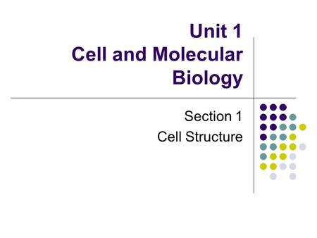 Unit 1 Cell and Molecular Biology Section 1 Cell Structure.