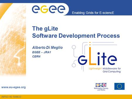 INFSO-RI-508833 Enabling Grids for E-sciencE www.eu-egee.org The gLite Software Development Process Alberto Di Meglio EGEE – JRA1 CERN.