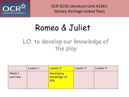 Romeo & Juliet LO: to develop our knowledge of the play Lesson 1Lesson 2Lesson 3Lesson 4 Week 1 overview Developing knowledge of play OCR GCSE Literature.