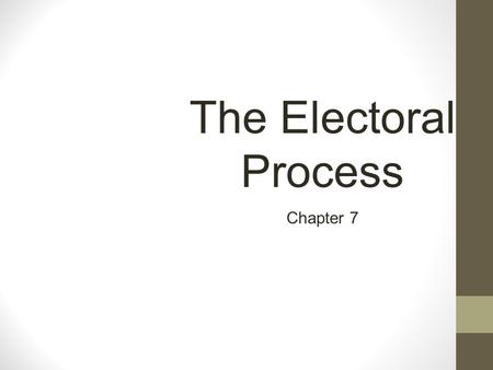 The Electoral Process Chapter 7. A Critical First Step In the United States, the election process occurs in two steps: 1.Nomination, in which the field.