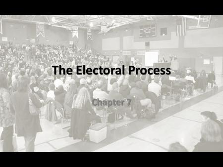 The Electoral Process Chapter 7. ELECTIONS Section 2.