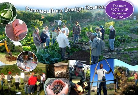 The next PDC 8 to 19 December 2012. Day Theme Presentations, discussions, practicals, group design and films Outcomes Day 1: Preliminaries Basic Permaculture.