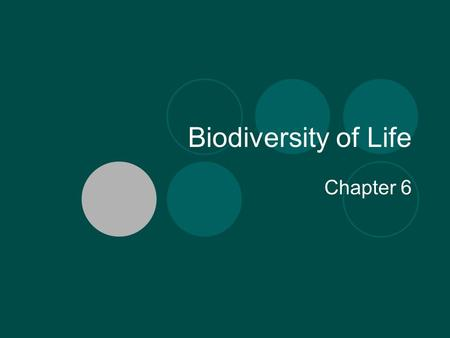 Biodiversity of Life Chapter 6. What is Biodiversity? The variety of life in a given location. The best biodiversity is found: near the equator.