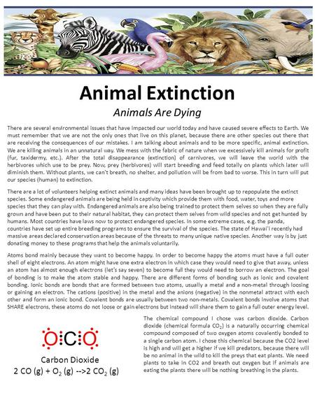 Animal Extinction Animals Are Dying There are several environmental issues that have impacted our world today and have caused severe effects to Earth.