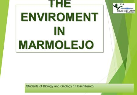 THE ENVIROMENT IN MARMOLEJO Students of Biology and Geology 1 st Bachillerato.