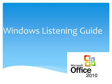Windows Listening Guide.  The software that manages the sharing of the resources of a computer. The overall function of the computer.  MASTER CONTROLLER.