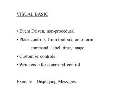 Visual basic toolbox controls