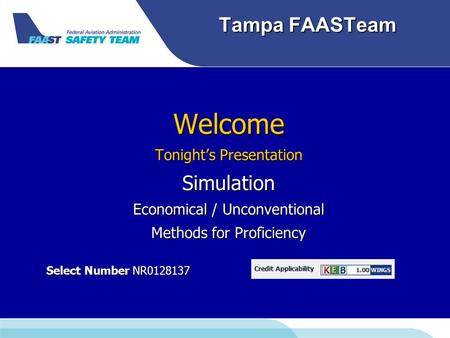 Tampa FAASTeam Welcome Tonight's Presentation Simulation Economical / Unconventional Methods for Proficiency Select Number NR0128137 Select Number NR0128137.