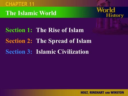 CHAPTER 11 Section 1:The Rise of Islam Section 2:The Spread of Islam Section 3:Islamic Civilization The Islamic World.