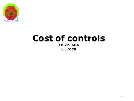 1 Cost of controls TB 22.9.04 L.Jirdén. 2 LAN WAN Storage Configuration DB, Archives FSM servers Terminal servers, ACR consoles, etc Experimental equipment.