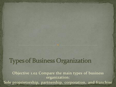 Objective 1.02 Compare the main types of business organization: Sole proprietorship, partnership, corporation, and franchise.