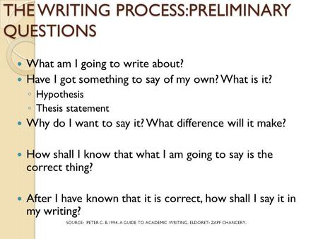 THE WRITING PROCESS:PRELIMINARY QUESTIONS What am I going to write about? Have I got something to say of my own? What is it? ◦ Hypothesis ◦ Thesis statement.