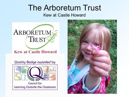 The Arboretum Trust Kew at Castle Howard. Education At The Arboretum Trust Aims of Education Programme Activities available Education for sustainable.