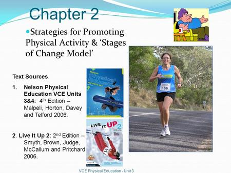 Chapter 2 Strategies for Promoting Physical Activity & 'Stages of Change Model' VCE Physical Education - Unit 3 Text Sources 1.Nelson Physical Education.