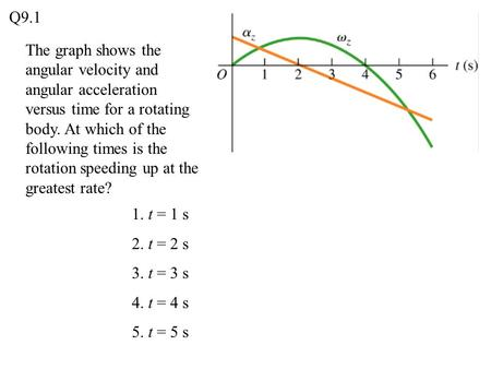Q9.1 The graph shows the angular velocity and angular acceleration versus time for a rotating body. At which of the following times is the rotation speeding.