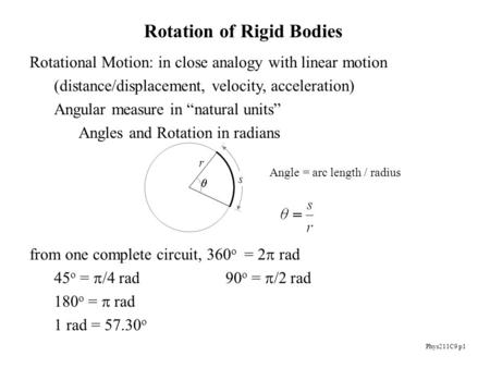 Phys211C9 p1 Rotation of Rigid Bodies Rotational Motion: in close analogy with linear motion (distance/displacement, velocity, acceleration) Angular measure.