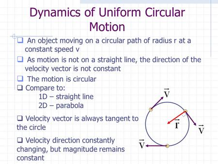 Dynamics of Uniform Circular Motion  An object moving on a circular path of radius r at a constant speed v  As motion is not on a straight line, the.